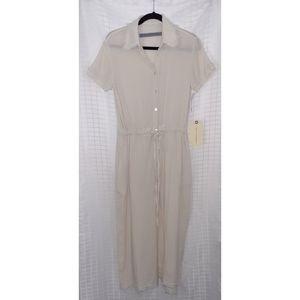 Raquel Allegra Cream Crinkle Shirt Dress Sz O